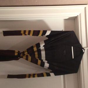 Long BCBG Sweater in multi-color stripes